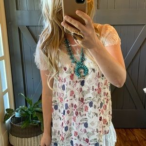New Bohemian Floral and Lace  Layering Tank Top Blouse